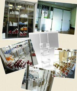Schaufenster Gestaltung mit Ladeneinrichtungen und Trennwänden