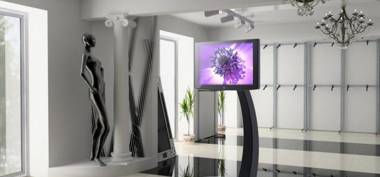 Digitale Schaufenster Warenpräsentation mit LCD Bodenständer Xelo schwarz
