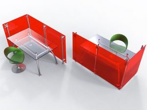 Trennwand rot Acrylglas Sitzecke, Büro, Callcenter, Gewerbe, Mensa