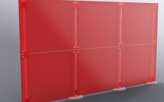 Trennwand Acrylglas Raumteiler Stellwand 3 m rot