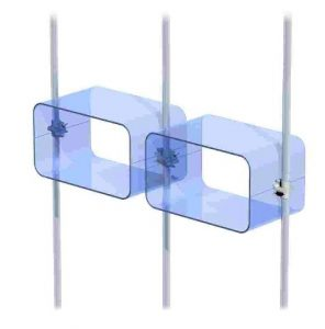Acrylglas U-Schalen Cubes Ladeneinrichtung blau