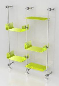 Alu Pfosten zur Wandinstallation mit Acrylglas Ablagen fluogelb