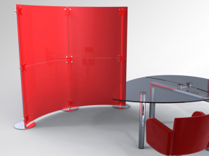 Messestand Stellwand, Stellwandsystem Acrylglas rot
