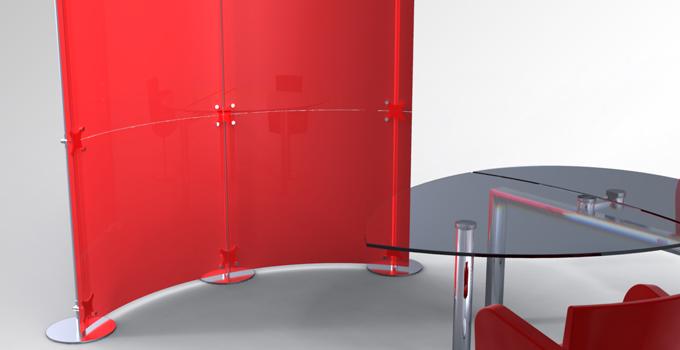 Acrylglaswand Raumteiler konkav konvex rot