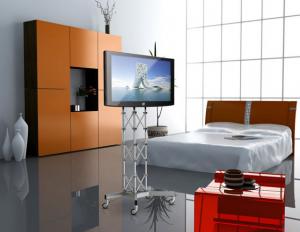 Monitorständer rollbar auf Traverse mit Rollen für LCD Fernseher bis 50 Zoll