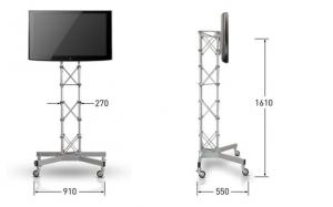 Monitorständer rollbar Abmessungen des Traversenständer mit Rollen