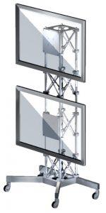 Monitorständer rollbar aus Traverse, bestückbar mit zwei Monitoren