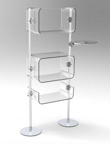 Warenpräsenter selbststehend mit Acrylglas Ablagen