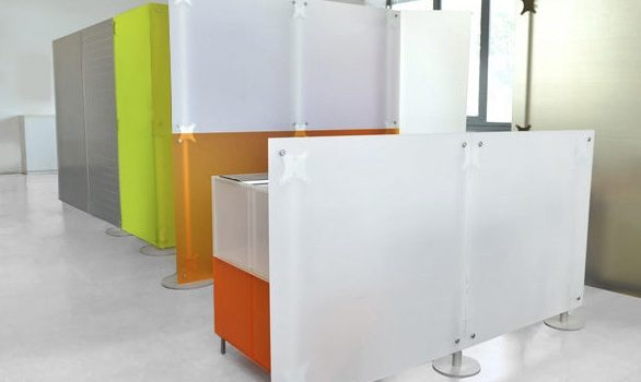 Stellwand Acrylglas Trennwand Raumteiler für Büro, Praxis, Laden weiss orange Milchglas