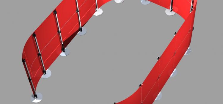 Raumteiler Sichtschutz rot U-Form