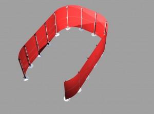 Messestand Stellwand Acryglas rot