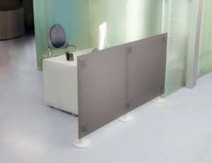 Stellwand Büro 2x2 grau Milchglas