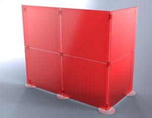 Praxiseinrichtung Raumteiler Trennwand als Kabine Acrylglas rot