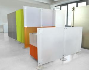 Praxiseinrichtung Raumteiler Trennwand Acrylglas weiss-orange