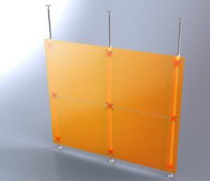 Trennwandsystem orange mit Teleskopstangen für die Festinstallation