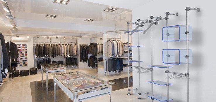 Ladenbauelemente Acrylglas blau Ladeneinrichtung Textil