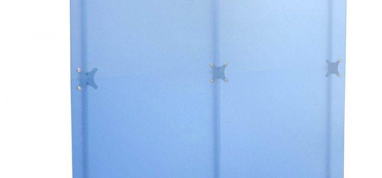 Raumteiler Milchglas blau 2 x 2 m Sichtschutz Stellwand