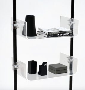 Verkaufsregal Friseur schwarz mit Acrylglas Ablagen transparent