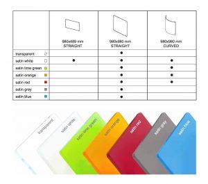 Aktuelle Farben unserer Acrylglas Trennwände