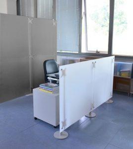 Raumteiler Büro 2x2 m und 2x1 m grau und weiss Milchglasoptik