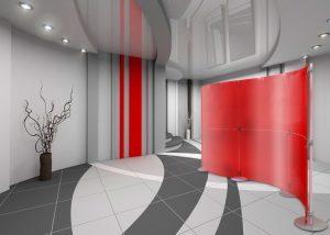 Trennwand Studio rot Milchglas curved