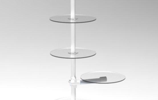 Warenrträger Verkaufsständer mit Rundablagen in transparentem Acrylglas