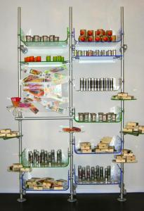Warenträger Verkausständer in Acrylglas blau transparent