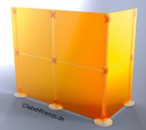 Trennwand Kabine für Studio oder Praxis in orange Milchglas Optik