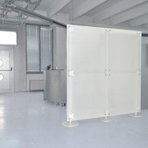 Raumteiler freistehend Milchglas 2 x 2 m