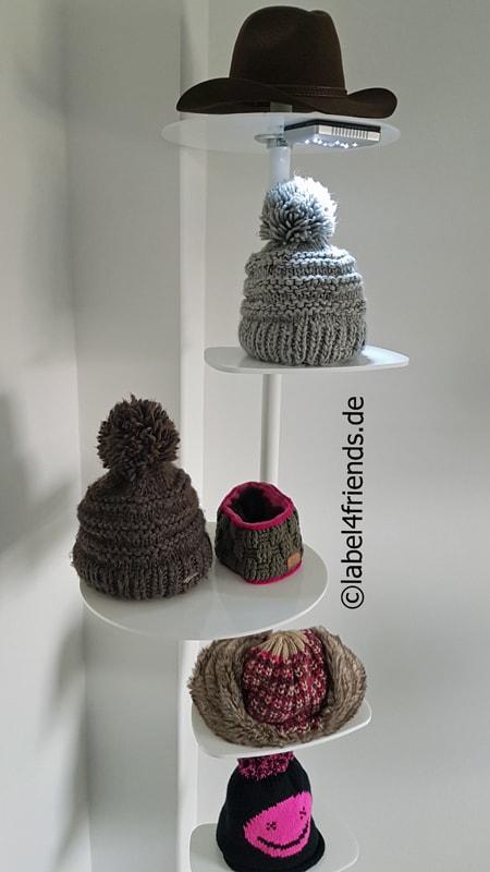 Freistehender Hut- und Mützenständer für die Warenpräsentation im Einzelhandel