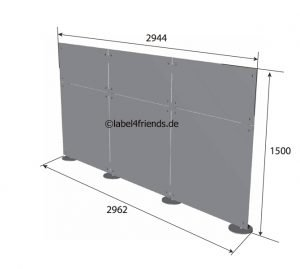 Büro Trennwand mobil + freistehend mit Acrylglas Panelen 3 m x 1,50 m Höhe