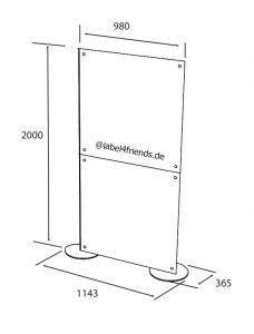 Freistehende Stellwand 1 x 2 m für Praxis oder Büro Raumteilung