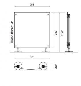 Mobile Stellwand geboben für Büro oder Praxis 1 x 1 m Höhe