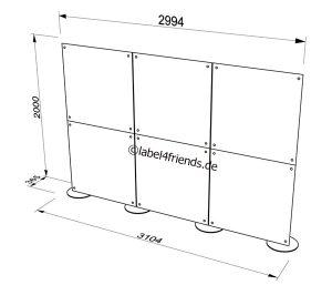 Mobile Trennwand 3 x 2 m für Büros oder Praxen