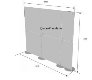 Büro Raumteiler Trennwand freistehend + mobil 2,50 x 2 m Höhe