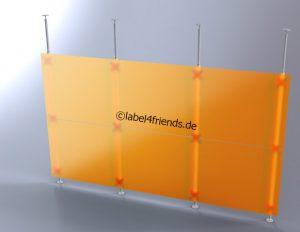 Raumteiler Trennwand mit Teleskopstangen und Acrylglas 3 m x 2 m Höhe