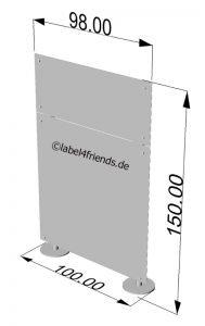 Mobile Sichtschutz Trennwand für Büro oder Praxis 1 x 1,50 m