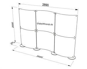 Stellwand / Raumteiler konkav konvex 3 m x 2 m Höhe freistehend und mobil