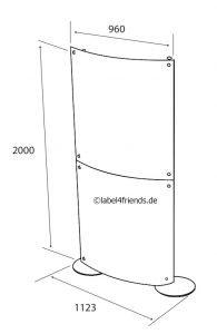 Mobile Acrylglas Stellwand konkav - konvex / halbrund 1 x 2 m Höhe