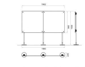 Freistehende Trennwand Büro / Schreibtisch Trennwand 2 x 1,50 m Höhe
