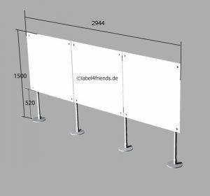Trennwand Büro freistehend bodenfrei mit Acrylglas 3 x 1,50 m H