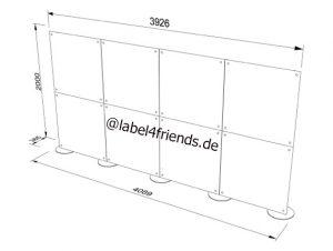 Mobile Trennwand Abmessungen für Büros und Praxen, 4 m Länge, 2 m Höhe