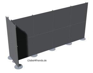 Trennwand freistehend in T-Form 4 x 2 m Länge für Praxis, Büro oder Gewerbe