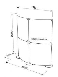 Trennwand halbrund freistehend und mobil 2 x 2 m mit Acrylglas Panelen