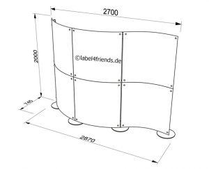 Freistehende mobile Trennwand 3 m x 2 m Höhe als Welle konkav konvex