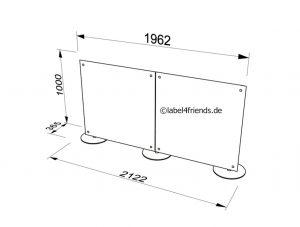 Mobile Schreibtisch Trennwand in 2 x 1 m Höhe
