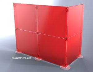 Mobile Hallentrennwände in L-Form rot-gefrostet selbststehend