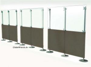 Mobile Hallentrennwände transparent und grau-gefrostet