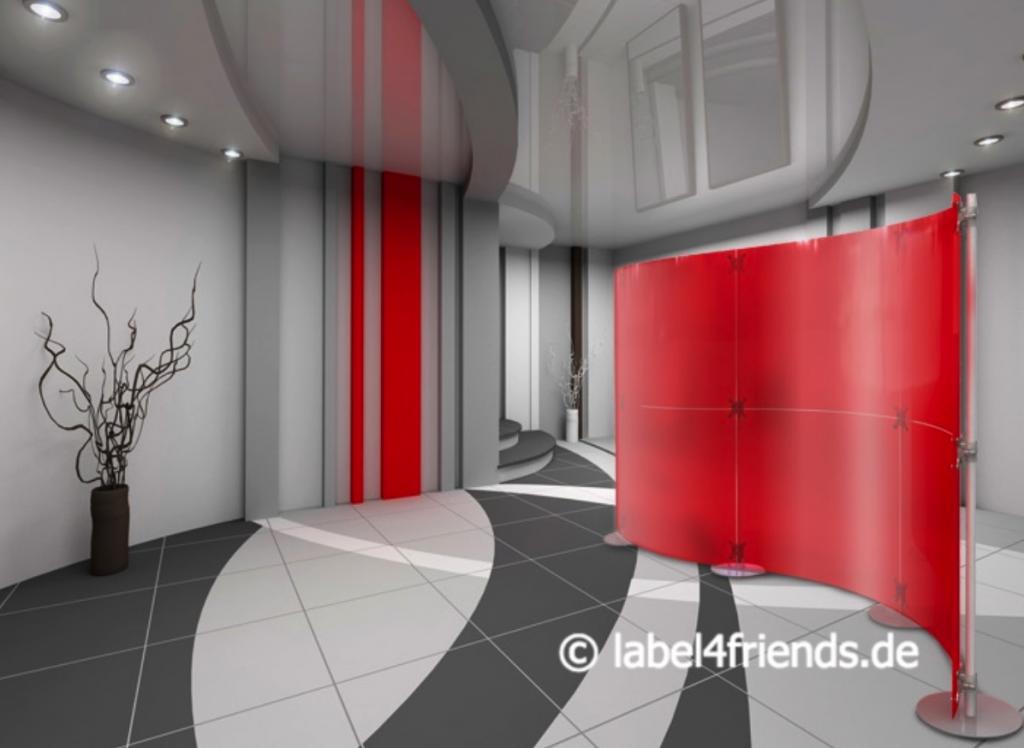 Freistehend Klinik Trennwand rot-gefrostet als Welle gestaltet