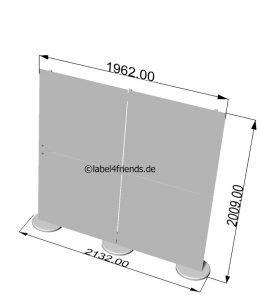 Stellwand Acrylglas freistehend 2 m B x 2 m H Abmessungen